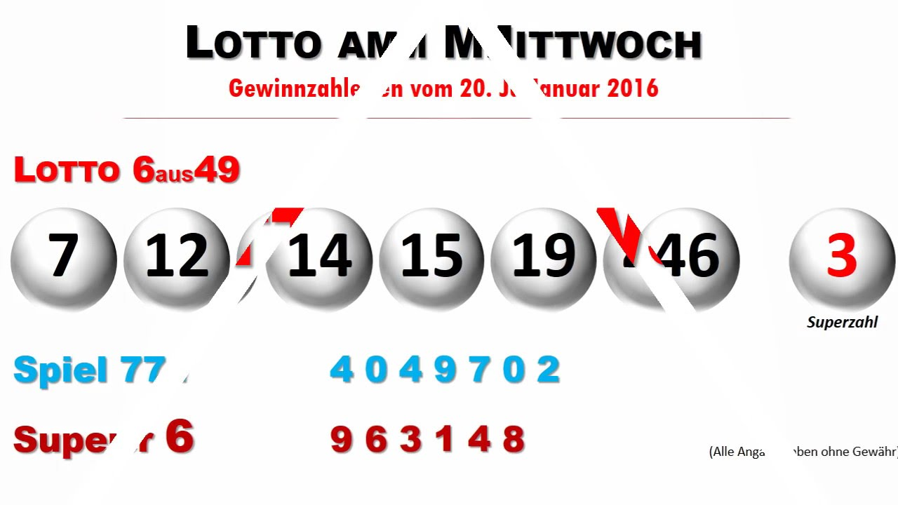 Lotto Am Mittwoch 14.09.16