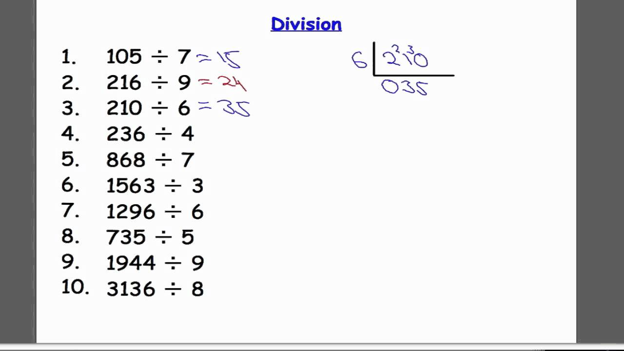 worksheet Single Digit Division division by a single digit youtube digit