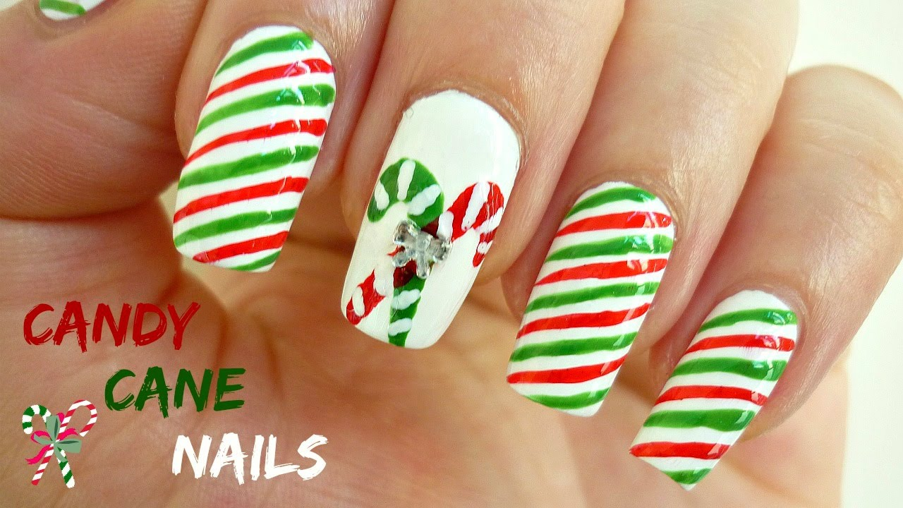 Easy candy cane nail art youtube prinsesfo Choice Image