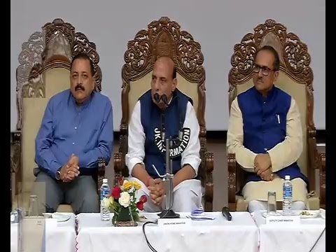 HM Shri Rajnath Singh interacting with the Media in Jammu.