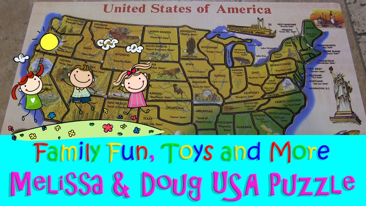 ♥ Melissa & Doug Deluxe Wooden USA Map Puzzle ♥ - YouTube