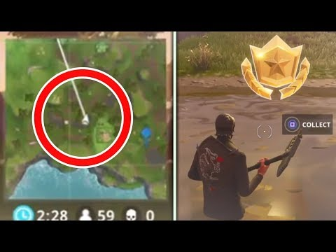 "Fortnite ""Search between a Vehicle Tower, Rock Sculpture, and a Circle of Hedges"" Challenge Location"