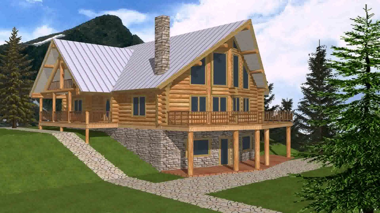 Log cabin floor plans with walkout basement youtube for No basement house plans