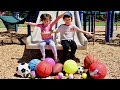 Learn Sport Ball Names at the Park with Colored Balls Down the Slide - Learning Video for Toddlers