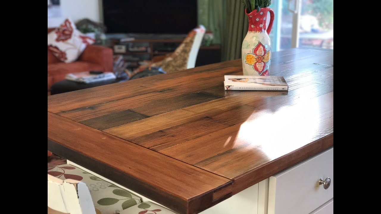 Making A Farmhouse Table And Island With Rustic Reclaimed Redwood And  Breadboard Ends