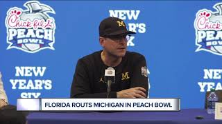 Jim Harbaugh reacts to Michigan loss in Peach Bowl