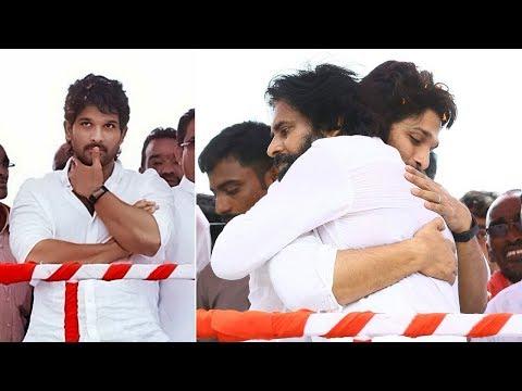 Power Star Pawan Kalyan Hugs Allu Arjun @ Palakollu Janasena Meeting   Manastars