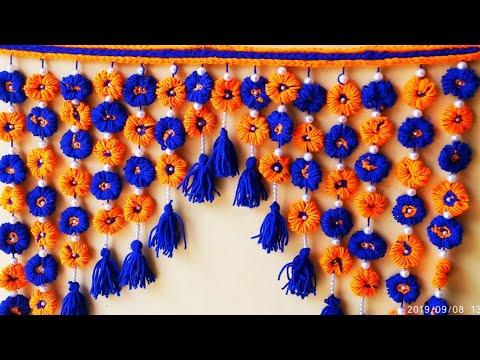 DIY- How to make Woolen door hanging/ Amazing door Toran/Woolen Craft Idea/ऊन की तोरन