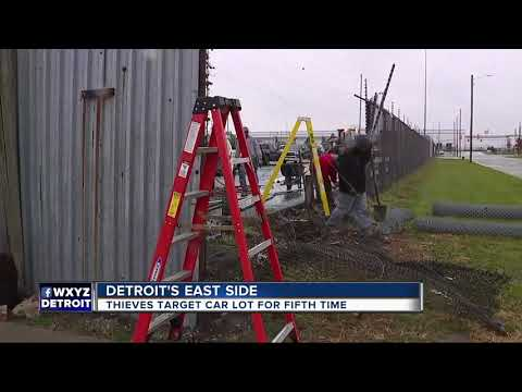 Thieves target car lot for fifth time on Detroit's east side