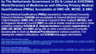 Apply for M.D. Degree Admissions for January 2013 Semester at IUSOM: Listed at AVICENNA Directory
