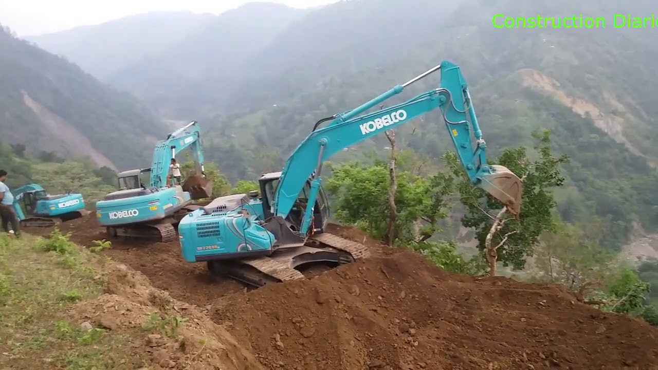 KOBELCO SK 220 Excavators in Operation in Construction of Tamor Corridor