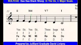SOLFEGE Baa Baa Black Sheep, in the Do_C Major Scale. SIGHT-SINGING & TRANSPOSITION