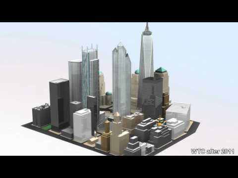 Old and new World Trade Center before 2001 and after 2011