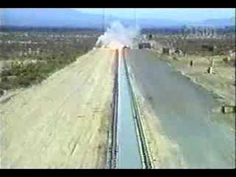 """BLU-109 2000lb """"Bunker Buster"""" Bomb Rocket Sled Test"""