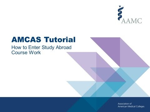 AMCAS Application Tutorial - How to Enter Study Abroad