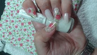 Diseño para uñas con servilleta (decoupage): Nail Art//Nail design with paper towel