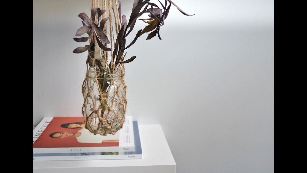 macrame hanging mason jar planter tutorial youtube