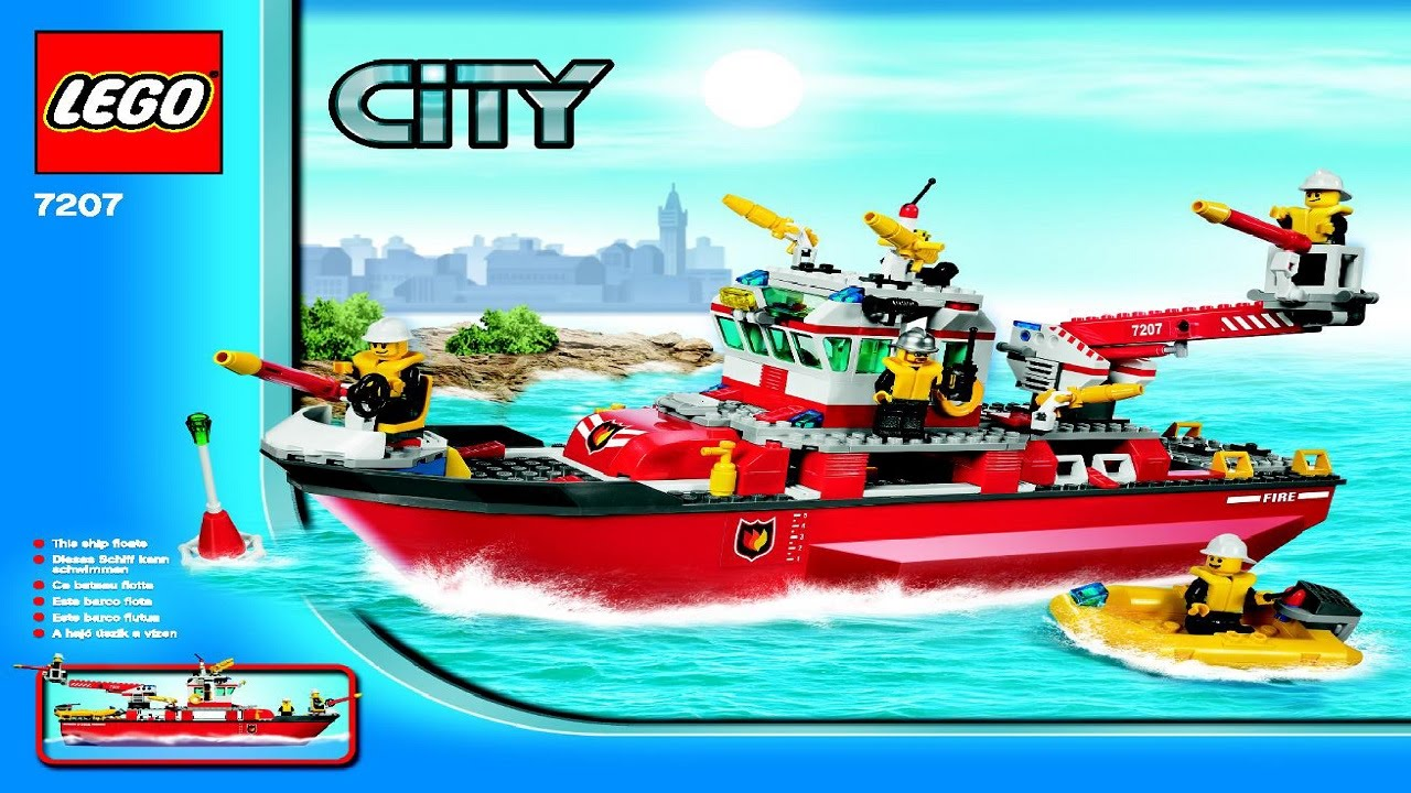 7207 LEGO Fire Boat City Fire Instruction Booklet YouTube