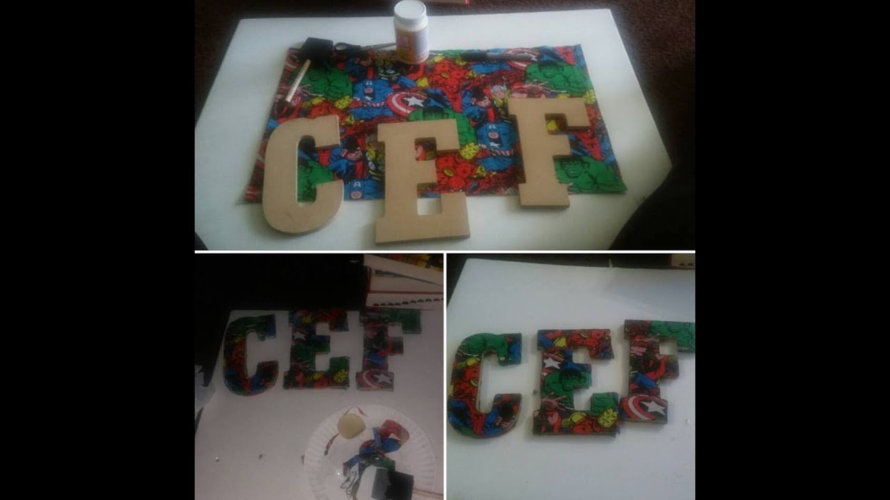 DIY | Avengers Fabric Covered Letters - YouTube