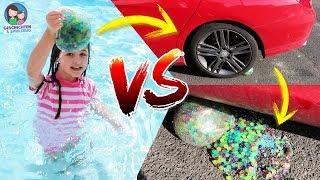 EXPERIMENT! Auto fährt über WUBBLE BUBBLE mit Orbeez Wasserperlen - Geschichten und Spielzeug