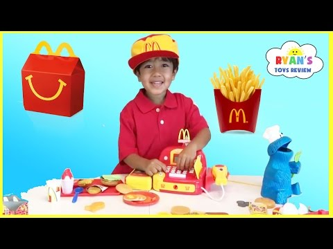 Thumbnail: McDonald's Happy Meal Toy Pretend Play Food! Cash Register Hamburger Maker French Fries Shake