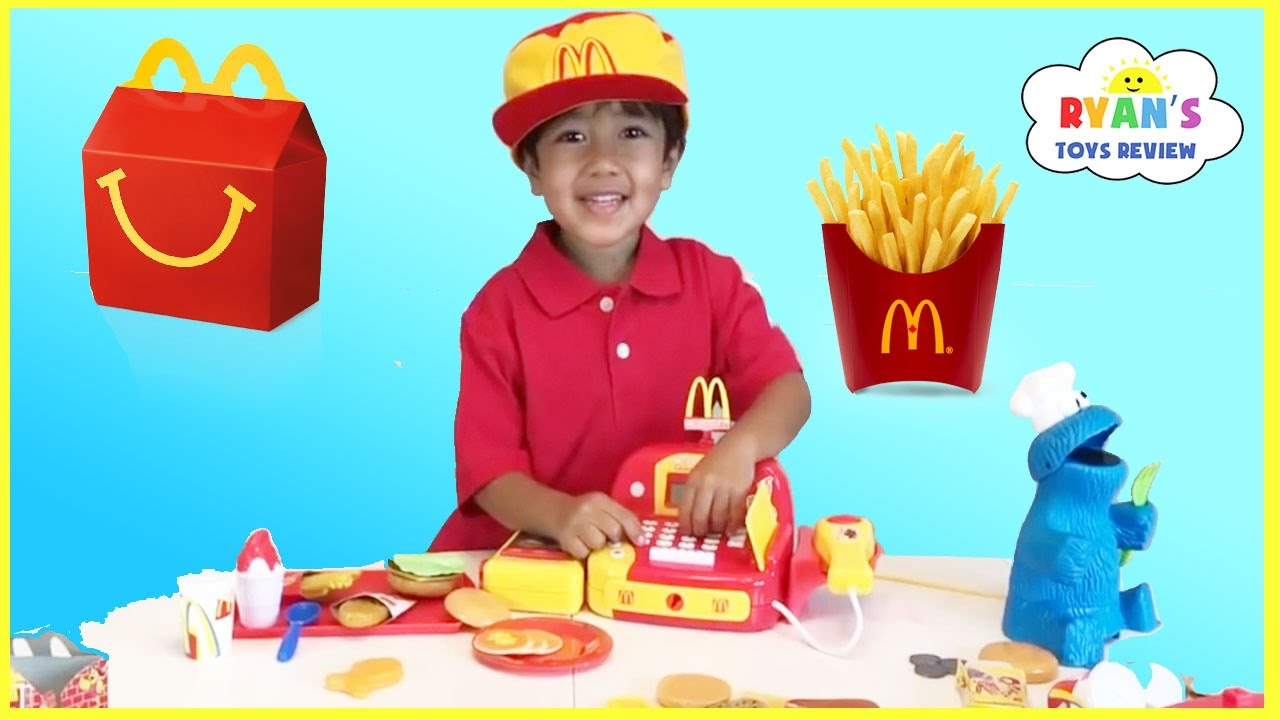 McDonald\'s Happy Meal Toy Pretend Play Food! Cash Register Hamburger ...
