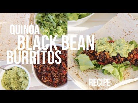 QUINOA BLACK BEAN BURRITOS RECIPE | 50g protein, Vegan, Oil Free & GF // Delicious