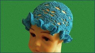 Летняя шапочка крючком. Детская шапочка крючком. Шапка крючком. Часть 2. (Summer hat. P. 2)