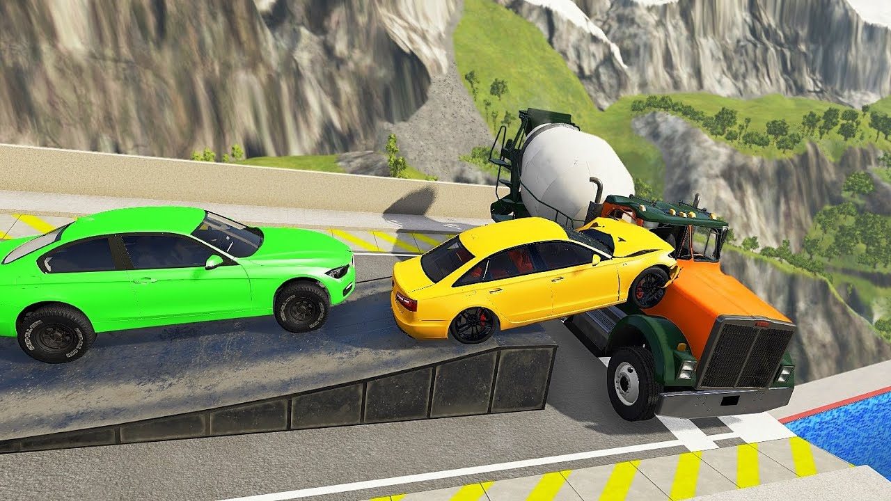 Side Impact Crashes At High Speed With Heavy Vehicle - BeamNG drive Cars Falls Into Pool