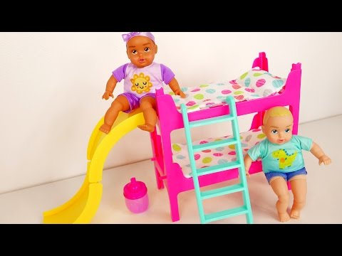 Baby Doll Bunk Beds Playing On The Slide Feeding Time And Bed Time