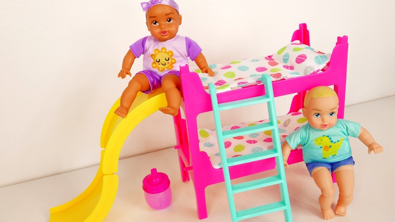 Baby Doll Bunk Beds Playing On The Slide Feeding Time And Bed Time Youtube