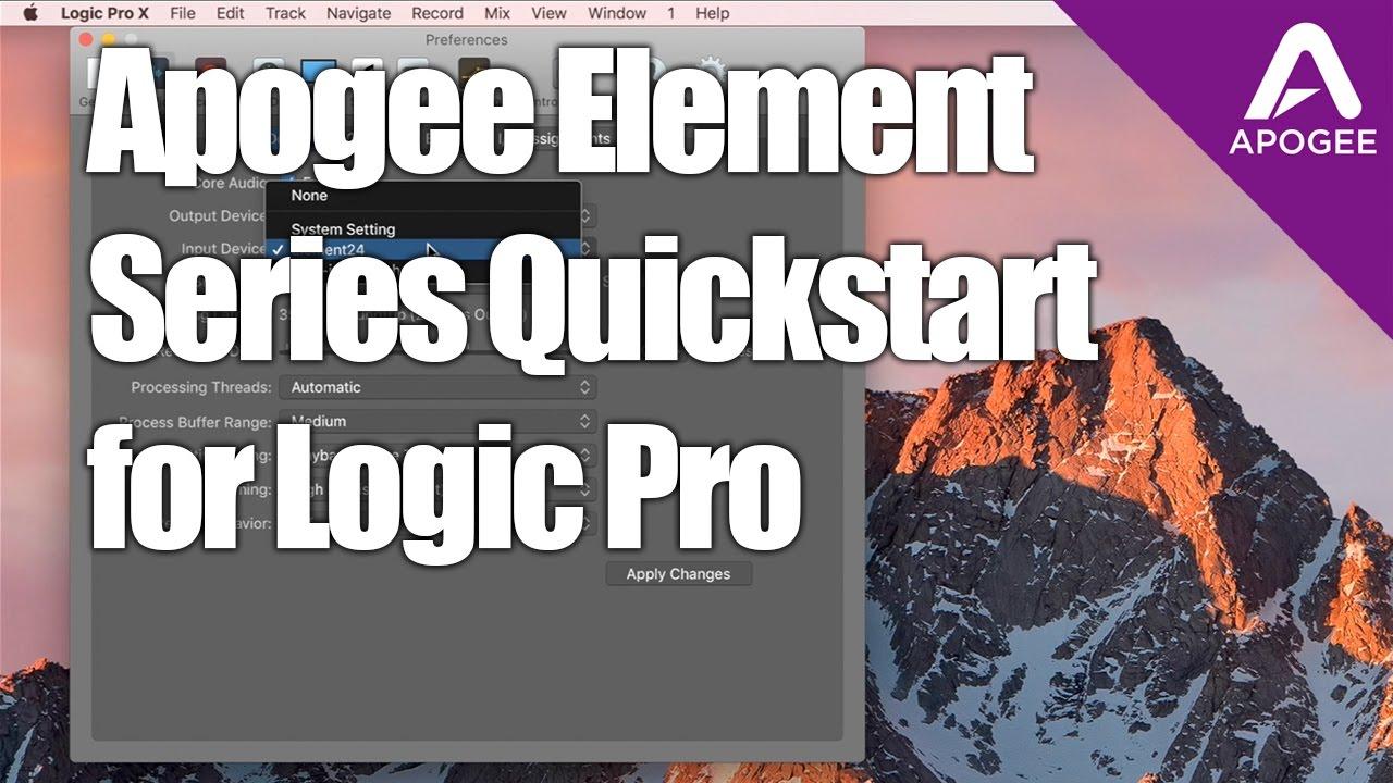 Apogee Element Tutorial-Element Quickstart Setup for Logic