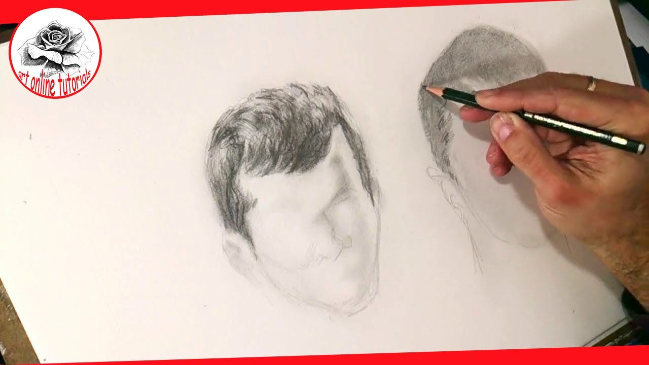 draw boys hair with pencil
