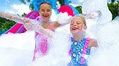 Nastya and Klava have a bubble foam party