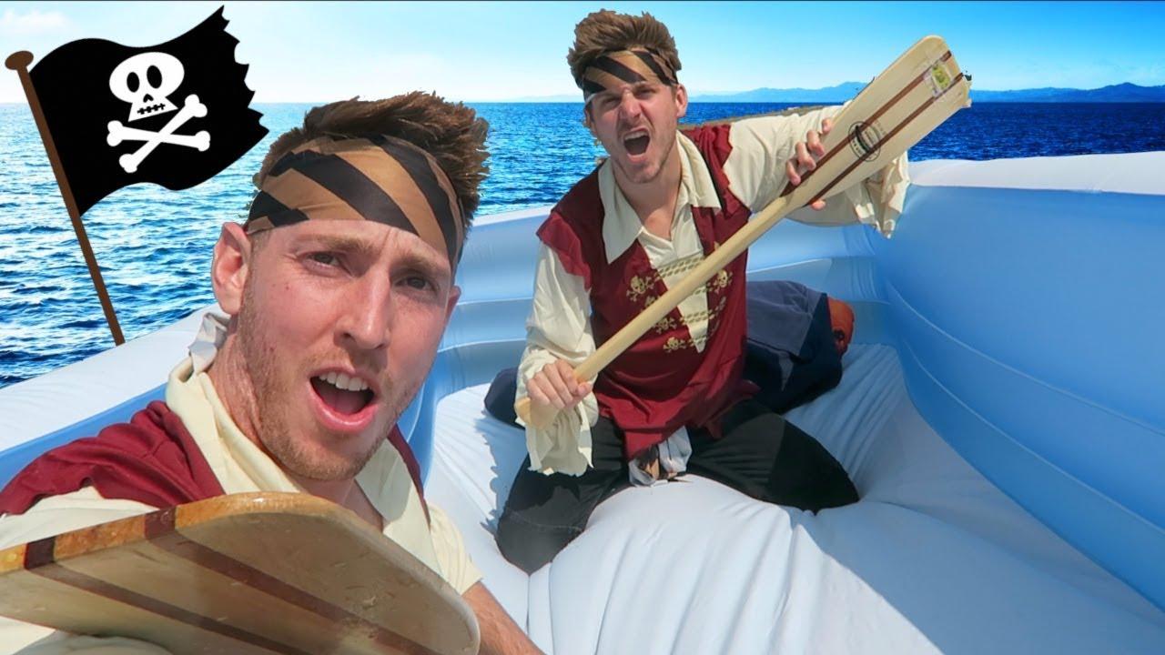 Pirate Ship Raft On A Lake Youtube