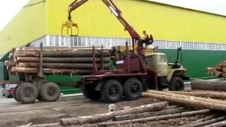 Работа лесовоза с гидроманипулятором