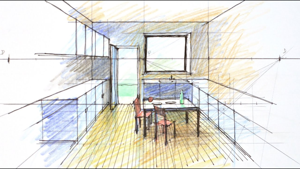 One perspective kitchen drawing