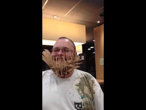 100 mcdonalds wood stirers in Griff's beard