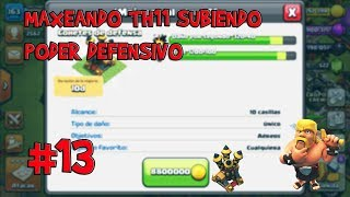 MAXEANDO TH11 COHETES DE DEFENSAS AL 9 Y CENTINELA AL 8 GUIA#13 CLASH OF CLANSR
