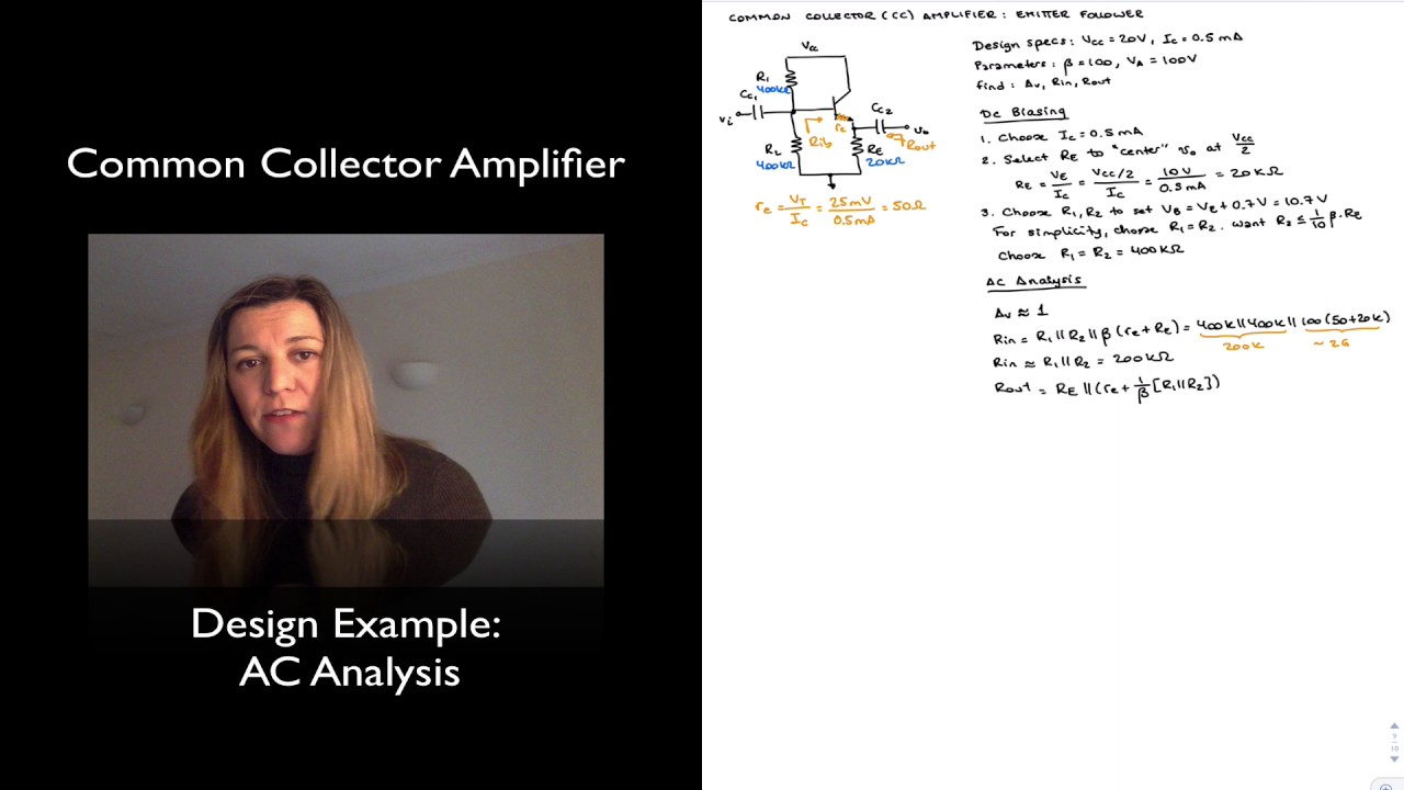 Cc Amplifier Ac Analysis Youtube Tutorial Part 3 Commoncollector Amplifiers Sample Circuits
