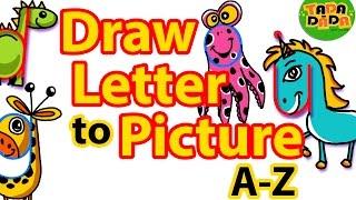 Wie, um BILDER zu zeichnen, die von den BUCHSTABEN A-Z | STEP BY STEP | Kinder Zeichnen | TADA-DADA-Art-Club