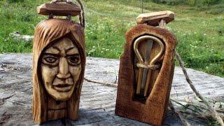 Резьба по дереву,лицо женщины, футляр для варгана. wood carving, female face Case(, 2016-07-19T15:27:03.000Z)