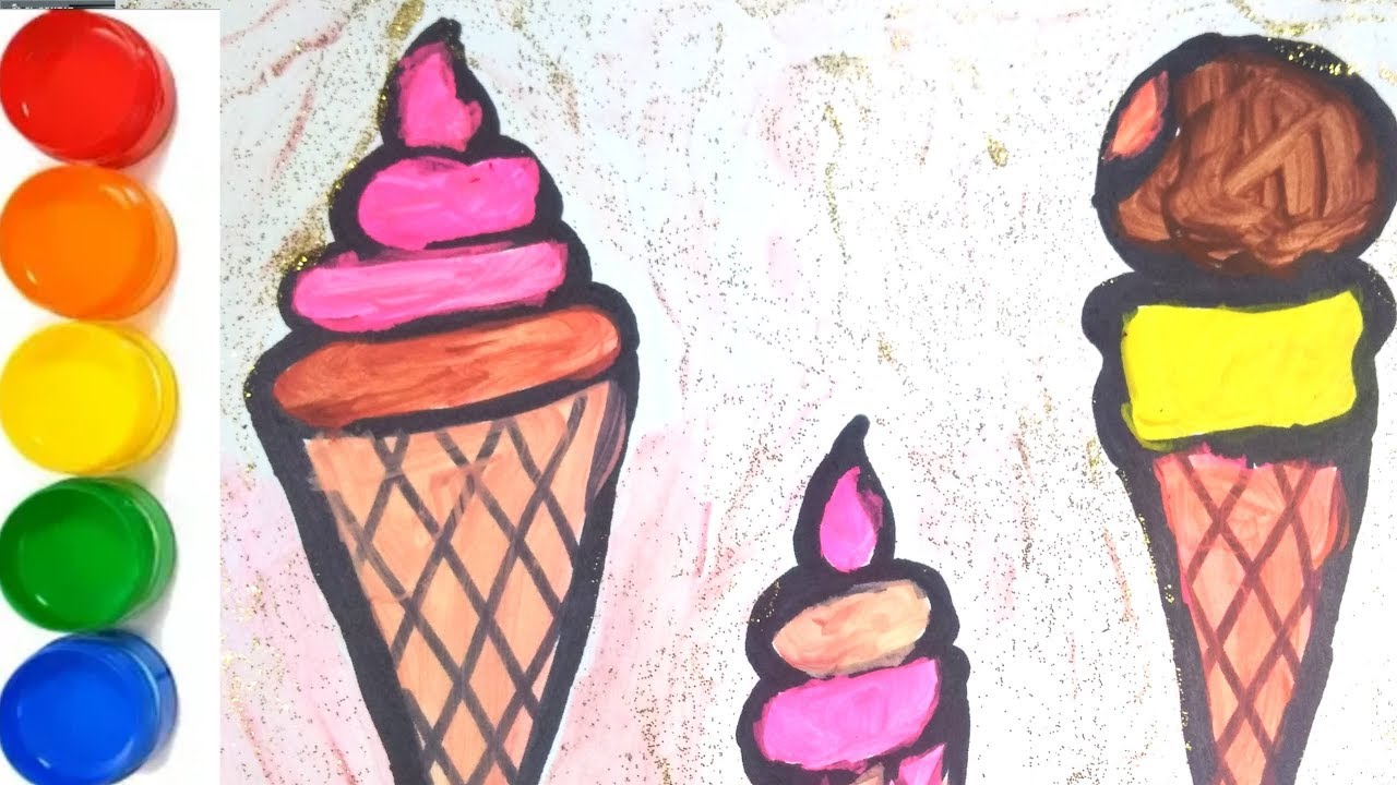 Glitter Ice Cream Ice Creams Coloring Pages Learn Colors For Kids