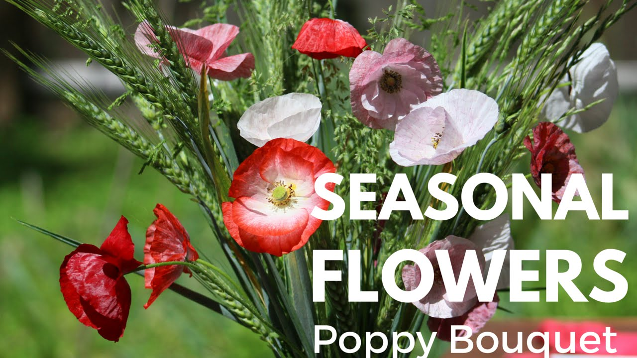 Seasonal Cut Flowers Shirley Poppy Bouquet With Wheat And Native