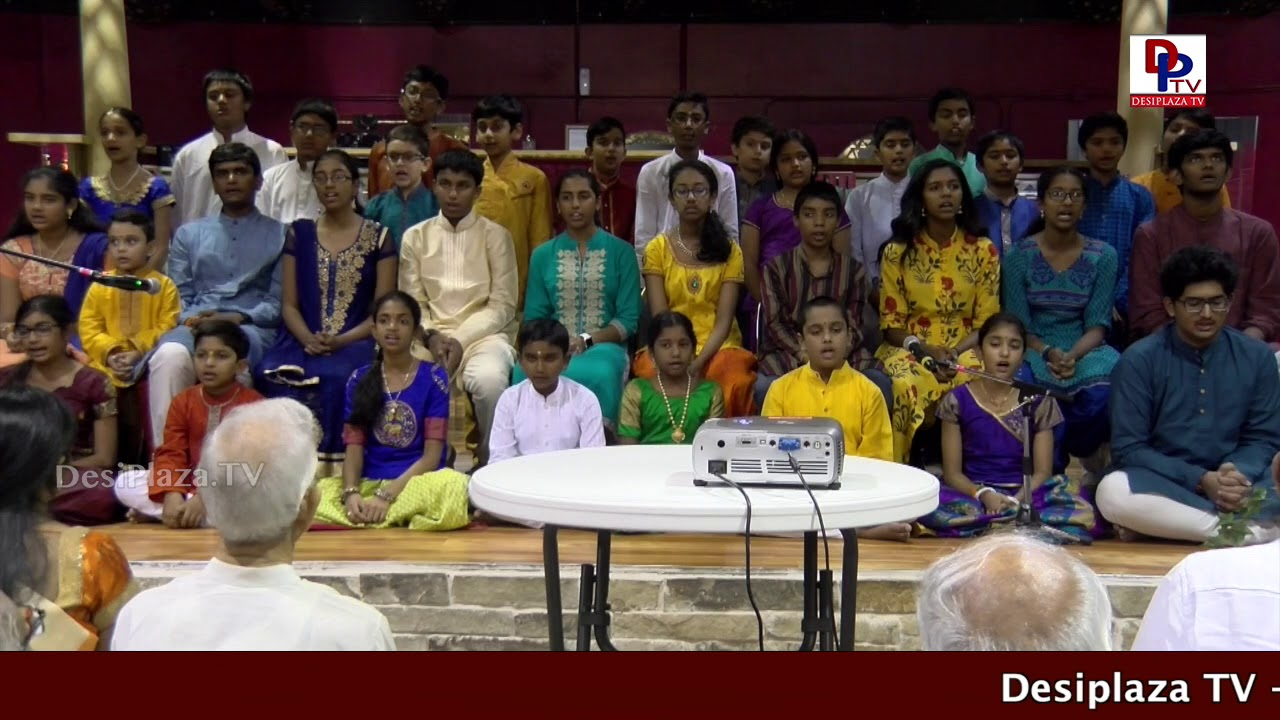 Kids performing Bhagvat Gita Chanting during Swami Paripoornanda Speech  in Dallas, Texas