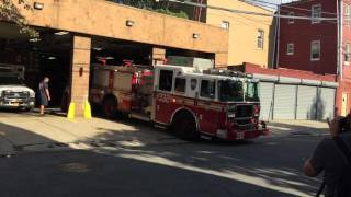 FDNY ENGINE 332 RESPONDING FROM QUARTERS ON BRADFORD ST. IN EAST NEW YORK, BROOKLYN, NEW YORK CITY.
