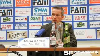 Pressekonferenz - 1. FC Magdeburg gegen VFC Plauen - Unfall Petersen - www.sportfotos-md.de