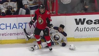 Borowiecki drills Baptiste into boards, Girgensons takes exception