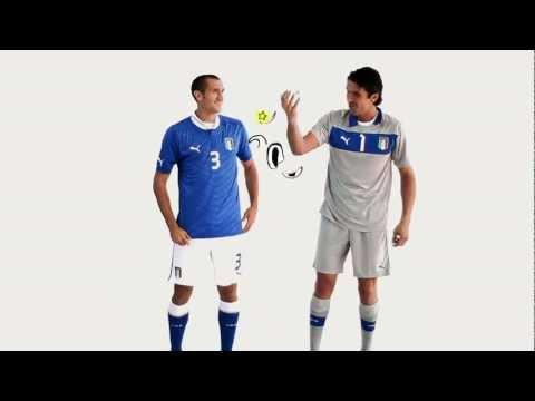 Buffon e Chiellini presentano la nuova maglia dell'Italia.mov
