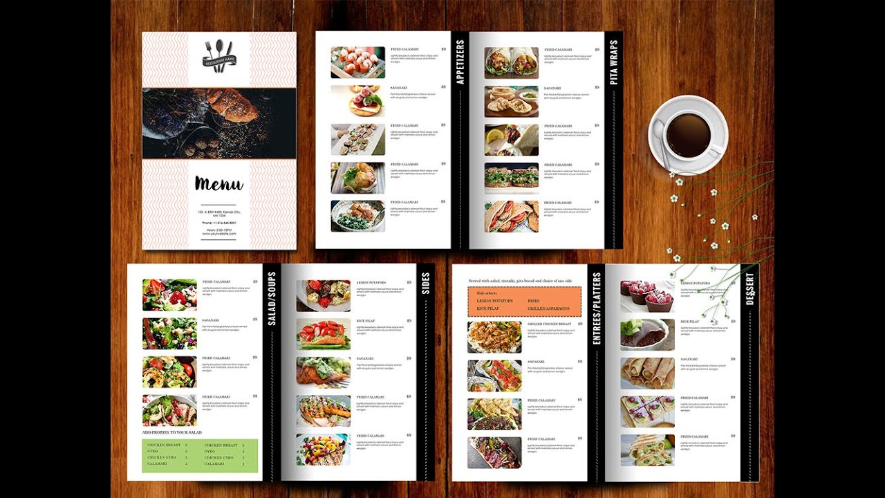 How To Create Food Menu In Ms Word   YouTube  Cafe Menu Template Word